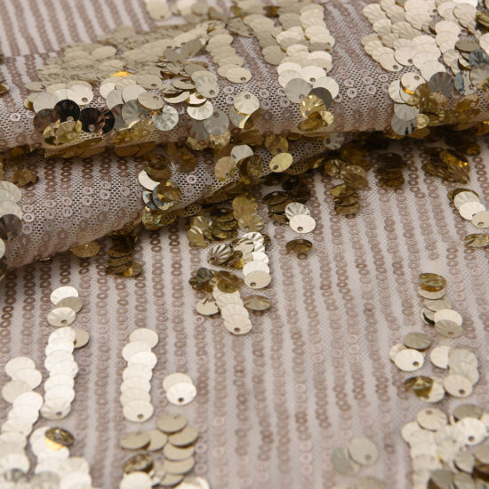 51inch Shiny Gold Sparkle Sequins Mesh Embroidered Fabric pictures & photos