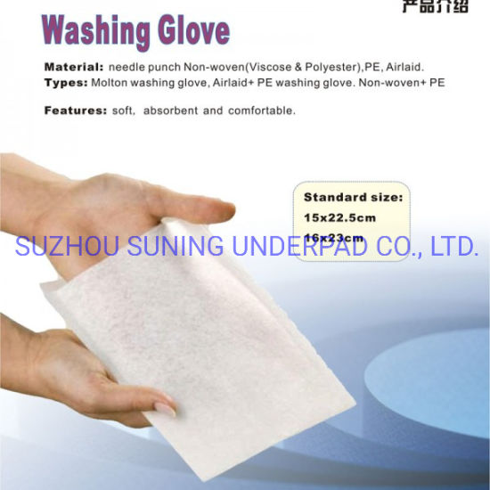 Disposable White Soft Washing Glove for Medical Use and Personal Care