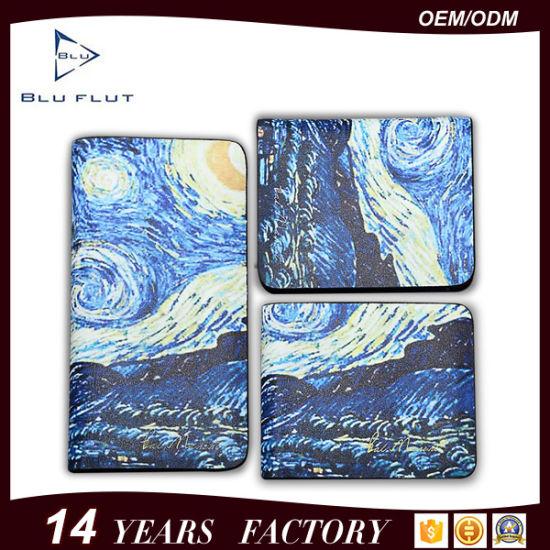 china custom printing logo genuine leather card holder wallets