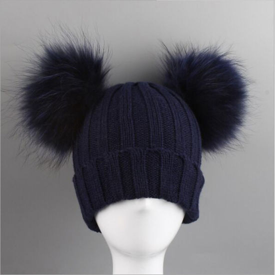 2dc2d2d5843 China Raccoon Fur Ball Leather Hat Knitting Wool Hat with Fur POM ...