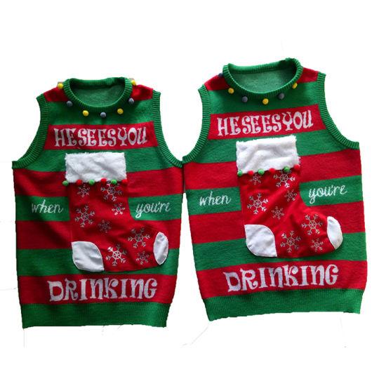 oem odm factory custom reindeer jacquard pattern ugly christmas sweater with led - Custom Christmas Sweater