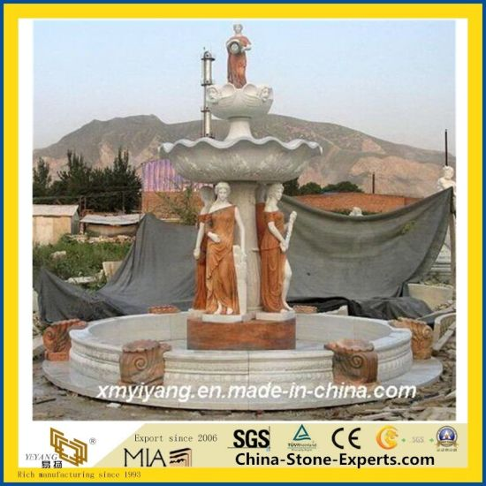 White Marble Female Statue Oudoor Stone Fountain pictures & photos