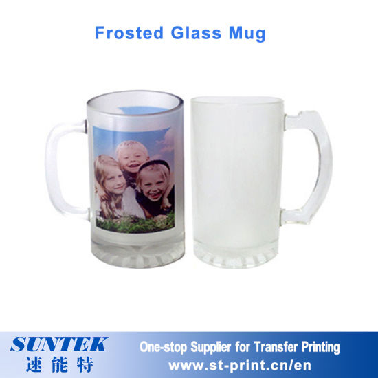 bfcca2503 16oz Glass Stein Mug Frosted Sublimation Beer Mugs with White Coated  pictures   photos