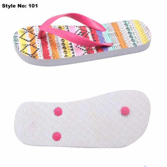 fedc88185 China Promotional Cheap PE Flip Flops Slippers with Decoration PVC ...