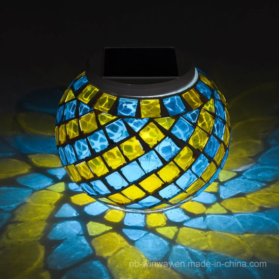 Solar Glass Mosaic Night Light Coulorful Changing