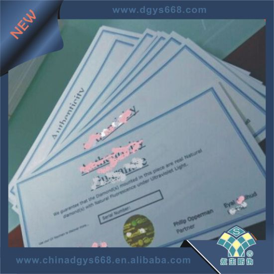 Certificate with Hot Stamping Hologram and Numbers