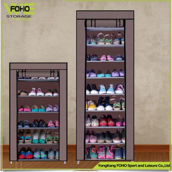 Dark Brown Non Woven Fabric Shoe Organizer Tower Shoe Rack For 50 Pairs