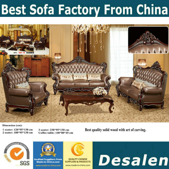 Best Quality Office Furniture New Classic Arab Leather Sofa (169 4)