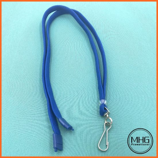 Blue Polyester Flat Neck Lanyards Safety Breakaway for ID Badge