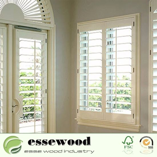 China Best Wooden Arch Plantation Shutter For Large Window With