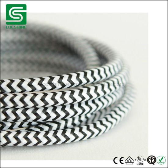 VDE/UL Braided Textile Cotton Cord Copper Electric Fabric Wire