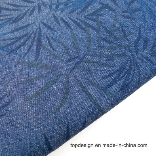 Twill Woven Garment Fabric 100% Cotton Denim Printed Shirt Fabric