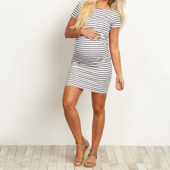 7c41267cd9f86 Comfortable Women Dress Round Collar Stripes Short Sleeve Casual Pregnant  Women Dress (18110) pictures