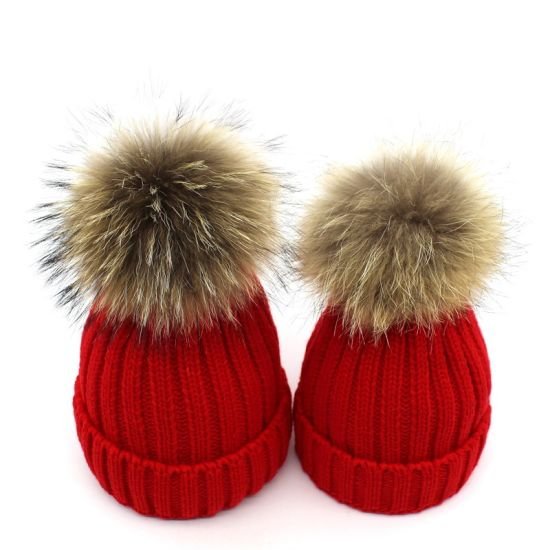 Winter Warm Custom Knit Fleece Parent-Child Real POM POM Beanie Hats pictures & photos