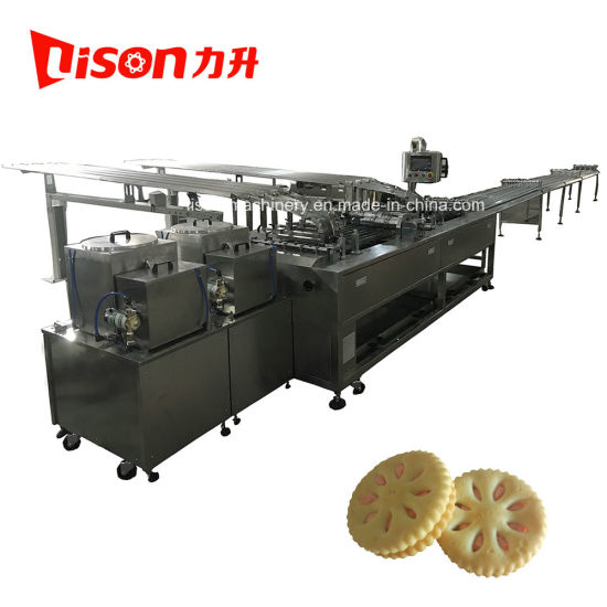 High Speed Four Lane Double Flavors Biscuit Sandwich Machine with Conveyor