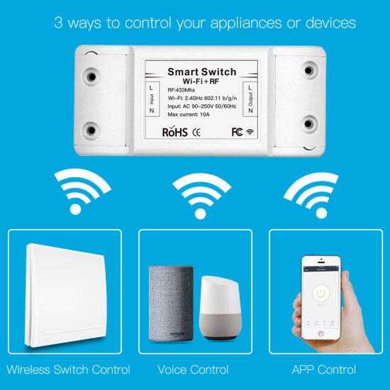 New RF433MHz+WiFi Tuya Smartlife Wireless Remote Control Smart Switch Work with Google Home Alexa