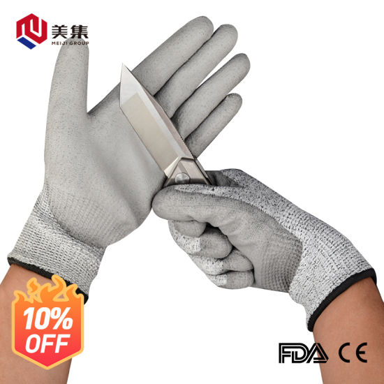 Seamless Knitted PU Coated Cut Resistant Hand Safety Gloves for Industry Work