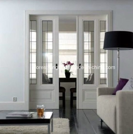 China White Double Glass Pocket Wood Door Design China Pocket Door