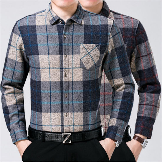 Mens Printing Long Sleeve Plaid Shirt Leisure Button Down Shirts