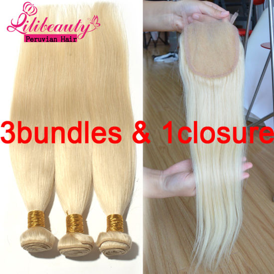 Blonde Straight Peruvian Remy Human Hair pictures & photos