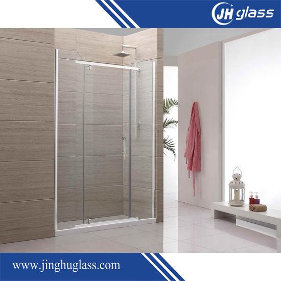 China 304 Stainless Steel Frameless Tempered Sliding Glass Shower