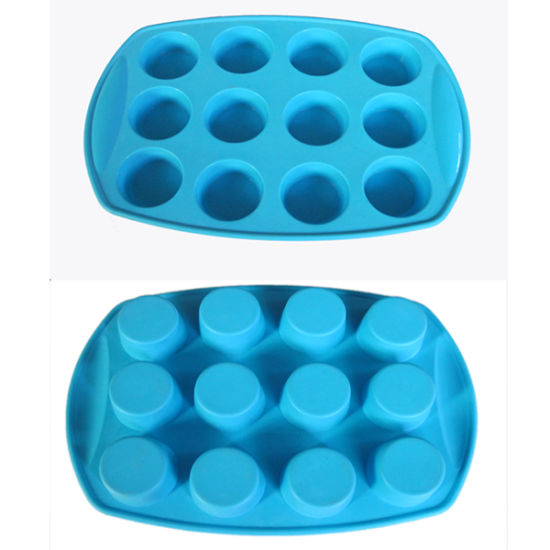 Food Grade 12 Cups Logo Printed Silicone Cake Mold