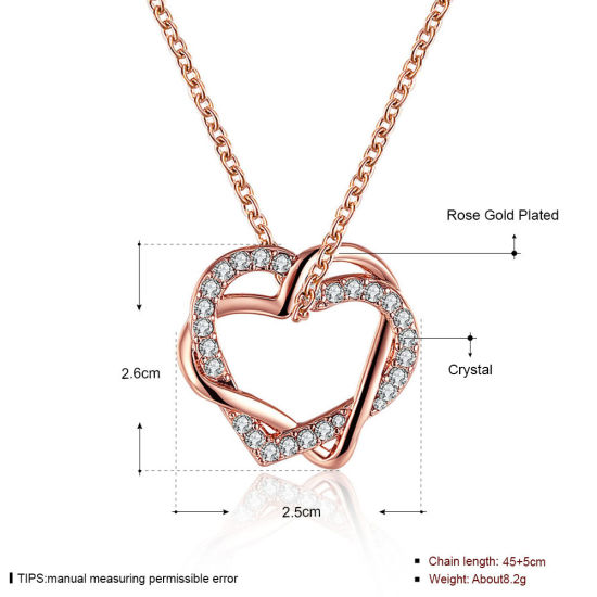 f69ab9967f5a Hot Sale Fashion Jewelry 18k Heart Pendant Diamond Necklace Rose Gold and Gold  Necklace
