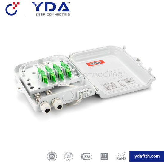 FTTH IP65 Outdoor Box Fiber Optic Plastic Box 8 Core Fiber Optic Distribution Box