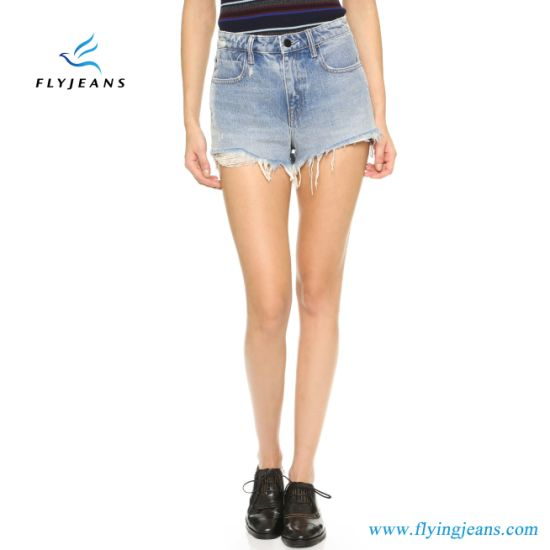 9cb6a8bc6bfe7 Hot Sale Fashion Blue Skinny Frayed Distressed Mini Pants Ladies/Women  Denim Shorts by Jeans Manufacturer (Shorts E. P. 222)