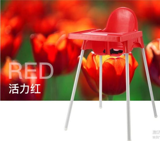 En71 Certificated Red Plastic and Cheap Baby Highchair