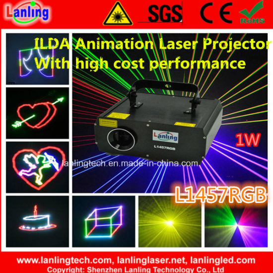 1W RGB 10kpss Ilda Animation Stage Laser Light for KTV/Clubs/Party