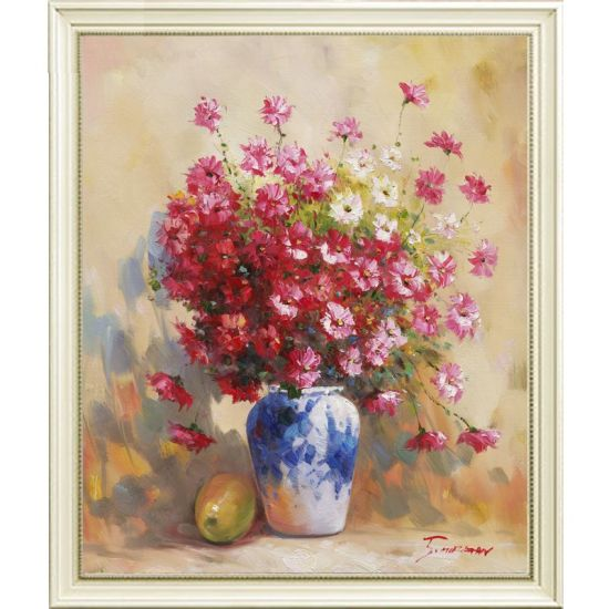 China Handmade Home Decor Artwork Still Life Red Flower Vase Oil
