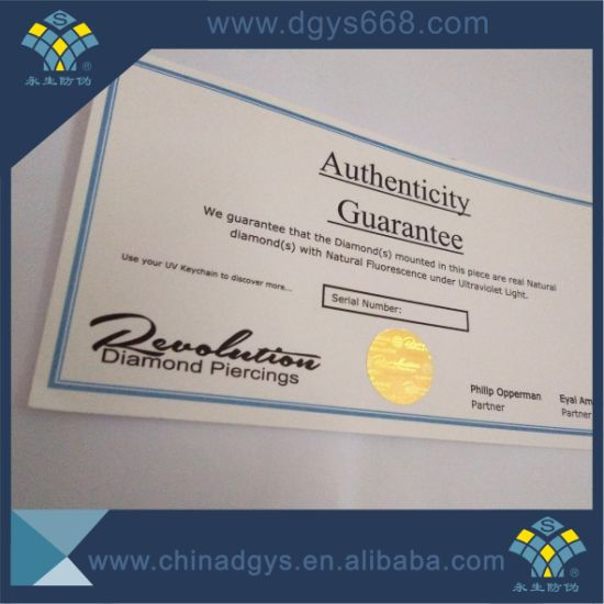 Hot Stamping Gold Foil Security Paper Certificate
