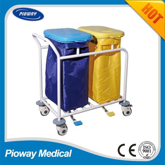 Hospital Medical Steel Powder Coated Linen Dirty Cart, Trolley (PW-710)