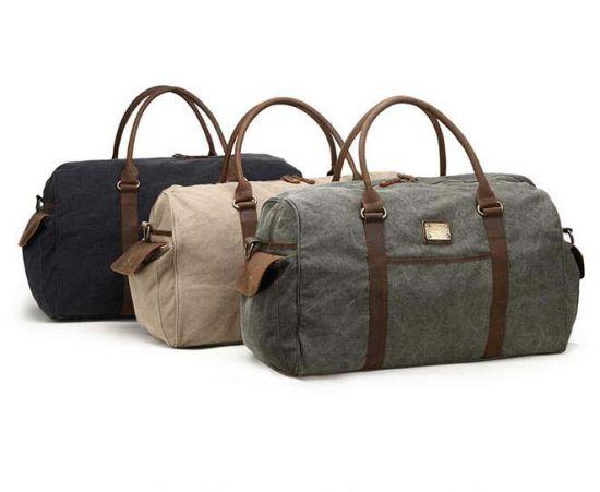 Wholesale Leather Custom Logo Mens Canvas Waterproof Duffle Bag