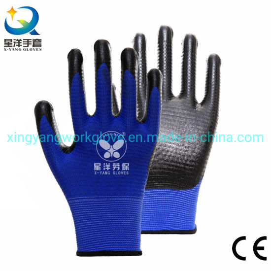 13G Zebra Pattern Polyester Liner with Nitrile Safety Work Gloves