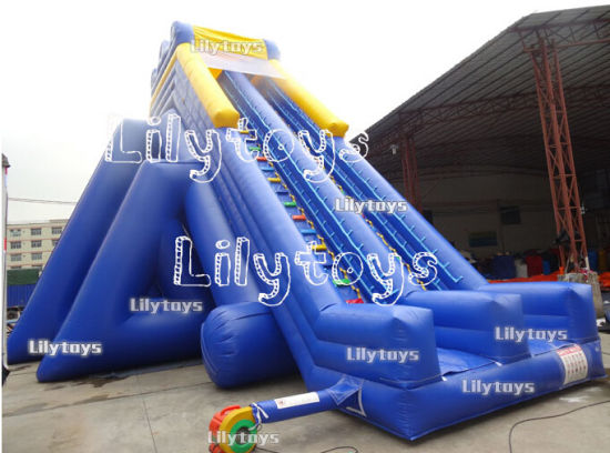Top Quality Larger Inflatable Water Slide on Land for Sale -- Blue / White pictures & photos