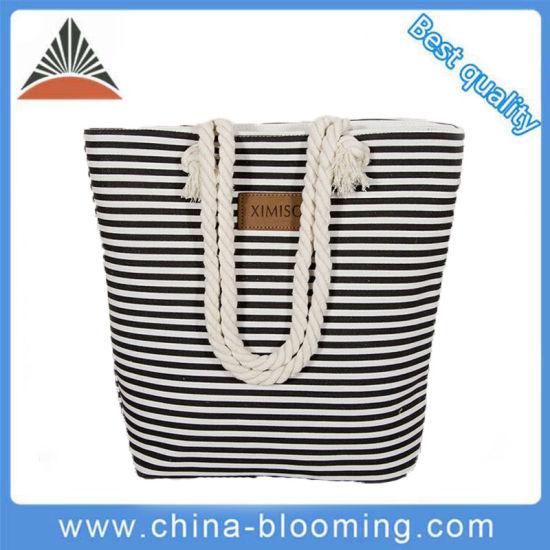 China Manufacture Distributor Wholesale Fashion Women Lady Custom Supermarket Handbag Foldable Rope Handle Canvas Hand Shoulder Travel Shopping Beach Tote Bag