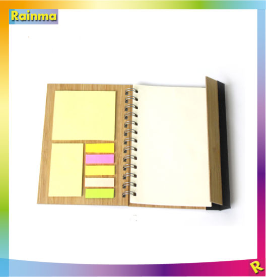 Spiral Bamboo Notebook with Sticker and Logo Printing for Office and Promotional Gift