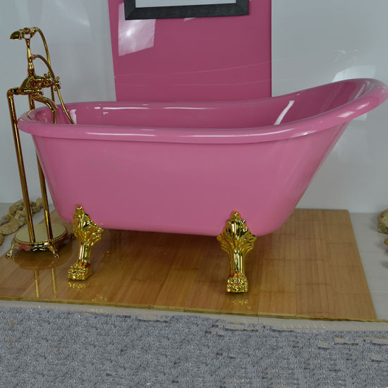 China European Style Pink Colour Bathtub with Feet Price, Bathtub ...