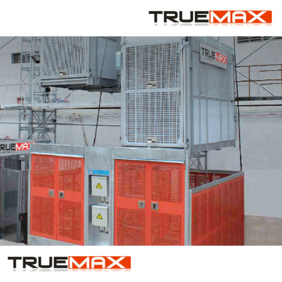 Truemax Twin Cage Sc200/200tdv Construction Hoist with Painting Mast Section pictures & photos