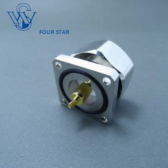 7/16 DIN Male Plug 32mm Sq Flange Mount Connector with Solder Cup