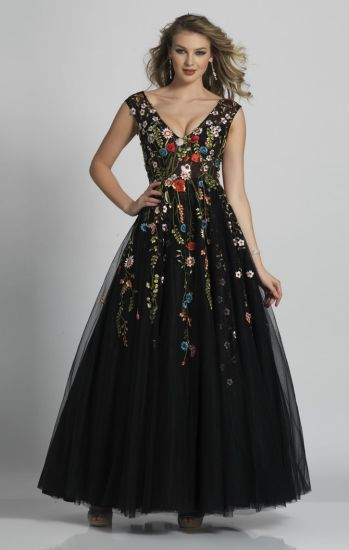 1f7e7e8f866 Sleeveless Black Floral Ball Gowns Colorful Long Prom Evening Dresses Z7007