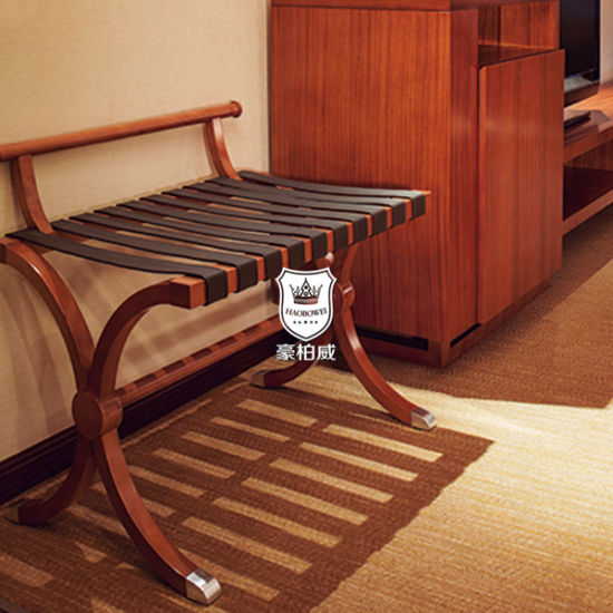Traditional Solid Wood Hotel Bedroom Luggage Rack For Guest