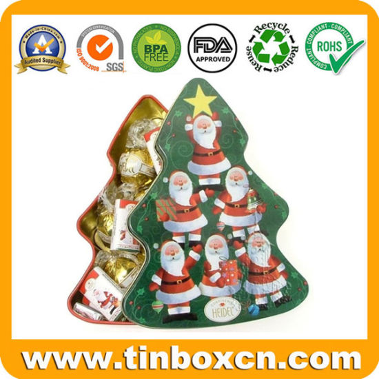 Heidel Christmas Tree Chocolates Tin for Metal Gift Box Packing pictures & photos