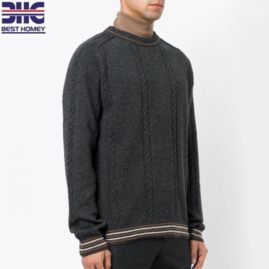 eba09bd983 Mens Classic Crew Neck Cable Knit Jumper Alpaca Merino Wool Blend Long  Sleeves Pullover Sweaters