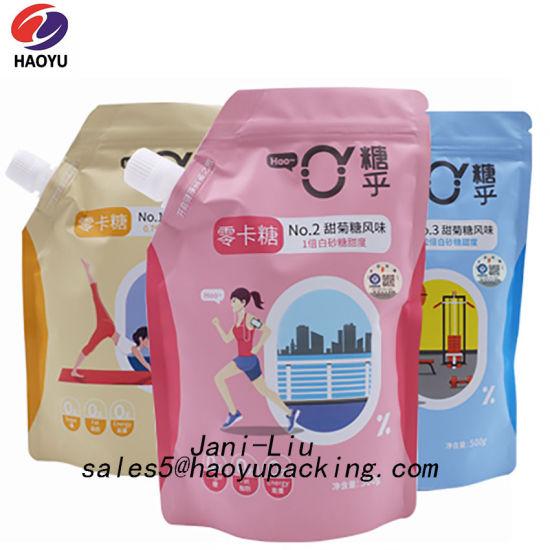 Reusable Liquid Water Sugar Milk Juice Plastic Stand up Packaging Corner Spout Bag
