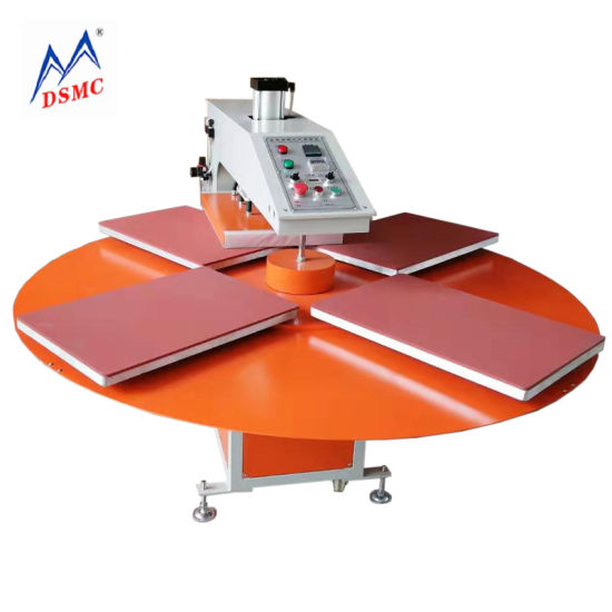 4 Station Rotary Worktable Semi-Automatic T-Shirt Heat Press Machine