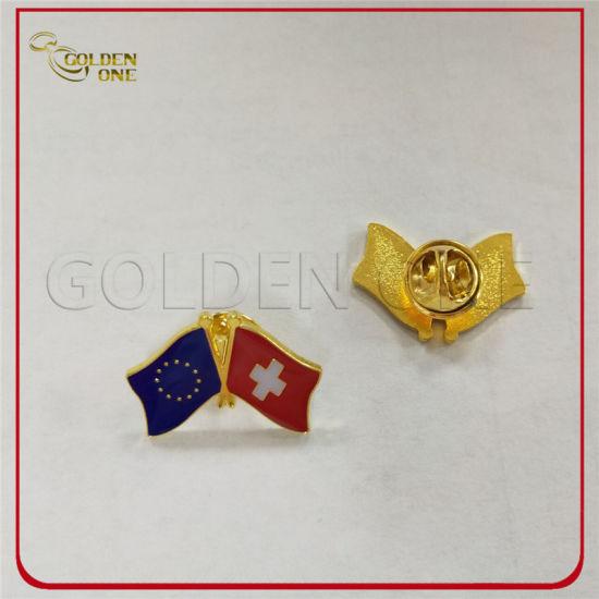 China Customized Gold Plated Soft Enamel Cross Flag Metal Lapel Pin