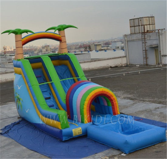 Inflatable Jungle Theme Bouncy Slide with a Pool B4081
